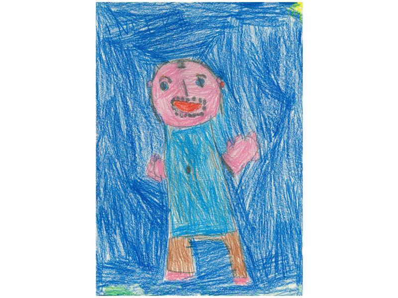 4de7cd5b013 ... v levém horním rohu a vytváří postavě táty rohatý klobouk. Malá  kreslířka seděla u obrázku tak dlouho